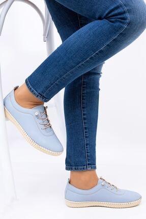 Hoba Kadın Mavi Ortopedik Lastik Bağcıklı İçi Deri Alçak Topuklu Günlük Rahat Ayakkabı 2