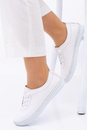 Hoba Kadın Ortopedik Beyaz Lastik Bağcıklı Içi Deri Alçak Topuklu Günlük Rahat Ayakkabı 1