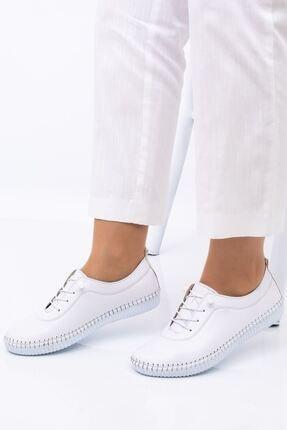 Hoba Kadın Ortopedik Beyaz Lastik Bağcıklı Içi Deri Alçak Topuklu Günlük Rahat Ayakkabı 3