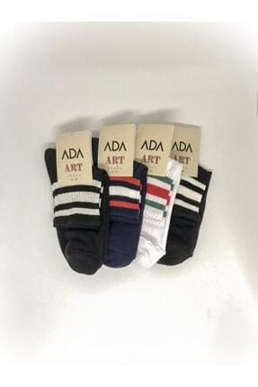 ADA Kadın Çok Renkli Çizgi Desenli 4'lü Paket Spor Çorap (35-39) 0