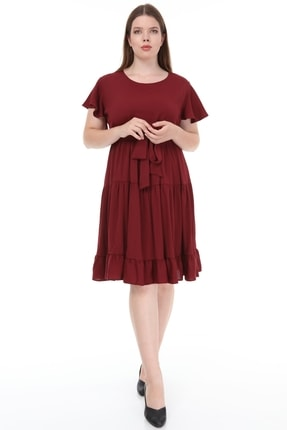 Lir Kadın Büyük Beden Fırfır Katlı Yarım Kol Elbise Bordo 1