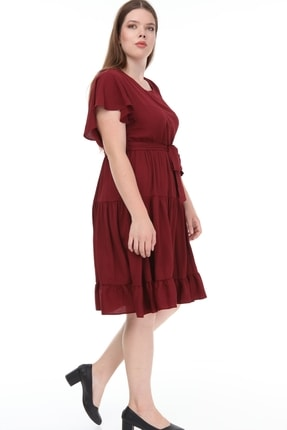 Lir Kadın Büyük Beden Fırfır Katlı Yarım Kol Elbise Bordo 3