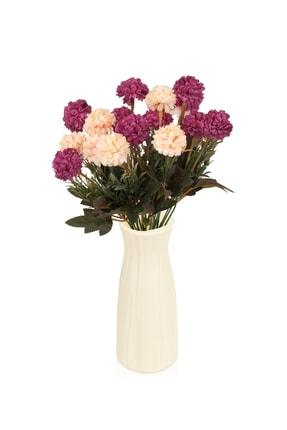 çiçekmisin Çizgi Desenli Beyaz Plastik Saksıda 2 Demet Yapay Karanfil 0