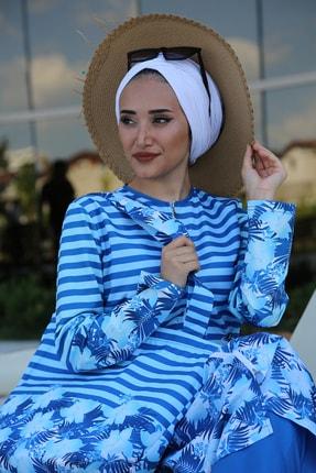 Minel Kadın Mavi Çizgili Tam Kapalı Tesettür Mayo 2