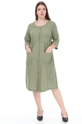 تصویر از Kadın Büyük Beden Cepli Düğmeli Elbise Haki