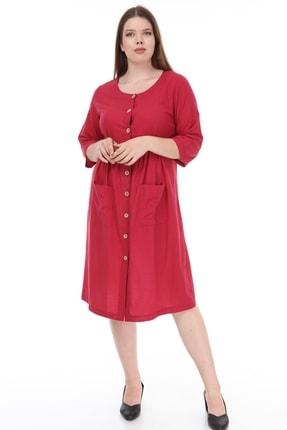 تصویر از Kadın Büyük Beden Cepli Düğmeli Elbise Bordo