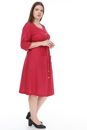 Lir Kadın Büyük Beden Cepli Düğmeli Elbise Bordo 3