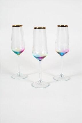 Rakle Rainbow 3'lü Şampanya Kadehi Seti 195 cc 0