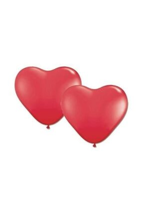 KullanAtParty Kalp Şeklinde Kırmızı Renk Balon 100 Adet 2