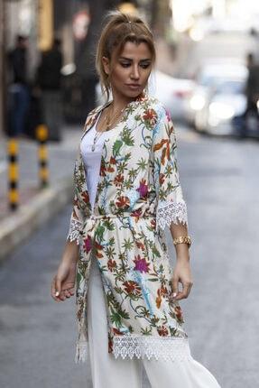 marka perisi Kadın Ekru Çiçek Desen Kimono 0