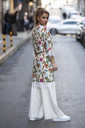 marka perisi Kadın Ekru Çiçek Desen Kimono 1
