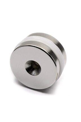 Dünya Magnet 2 ADET MIKNATIS, D25X10/5,5X5mm VİDA ATILABİLİR HAVŞA DELİKLİ GÜÇLÜ NEODYUM MIKNATIS 0