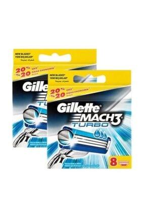 Gillette Mach3 Turbo Yedek Tıraş Bıçağı 8'li X 2 Adet 0