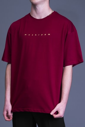 Mushroom Apparel Erkek Bordo Nakışlı Oversize T-shirt 2