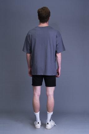Mushroom Apparel Unisex Gri Nakışlı Oversize Tshirt 1