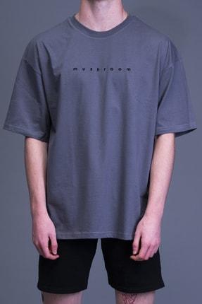 Mushroom Apparel Unisex Gri Nakışlı Oversize Tshirt 2