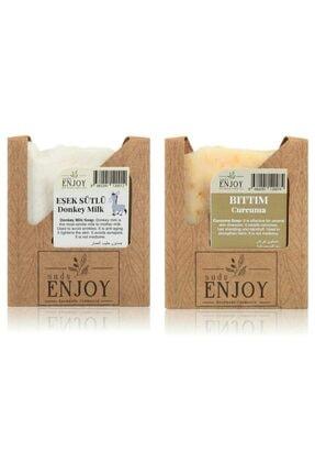 Enjoy Doğal Eşek Sütlü - Bıttım El Yapımı Yüz, Saç Ve Vücut Sabunu (İkili Paket) 0