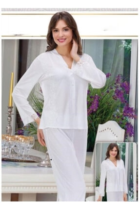 PİJAMİS Kadın Beyaz Alt Üst Pijama Takım 0