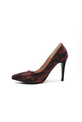 PUNTO Kadın  Siyah Kırmızı Desenli Klasik Stiletto Ayakkabı 452001z 1