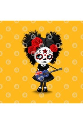 TatFast Sugar Skull Girl Playing Australian Flag Guitar Kupa 2