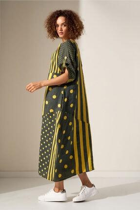 Camena Puantiye Çizgili Keten Elbise 2019070500191 0