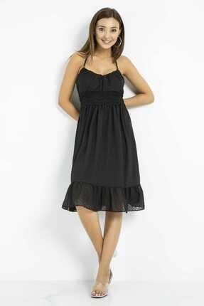 Sateen Kadın Siyah Dantelli Sırtı Açık Elbise 0