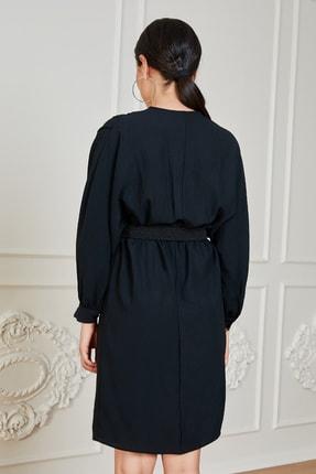 Sateen Kadın Siyah Uzun Kol Kemerli Elbise 3