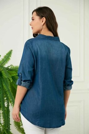 Rmg Kadın Mavi Taş Detaylı Büyük Beden Tensel Gömlek 4