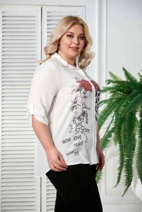 Rmg Kadın Ekru Desenli Kol Detaylı Büyük Beden Gömlek 2
