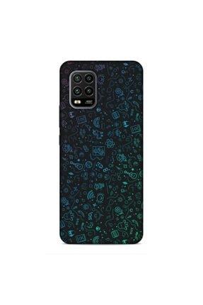 Pickcase Xiaomi Mi 10 Lite Desenli Arka Kapak Şekiller Mavi Kılıf 0