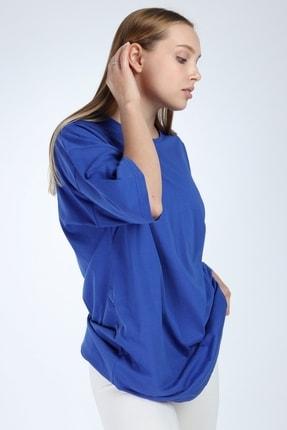 Millionaire Kadın Düz Sax Oversize T-shirt 0