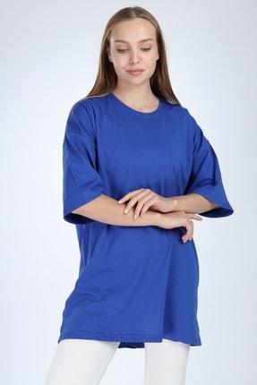 Millionaire Kadın Düz Sax Oversize T-shirt 2