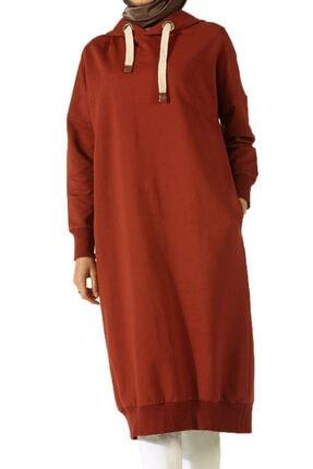ALLDAY Kadın Turuncu Kuşgözlü Penye Sweatshirt 0