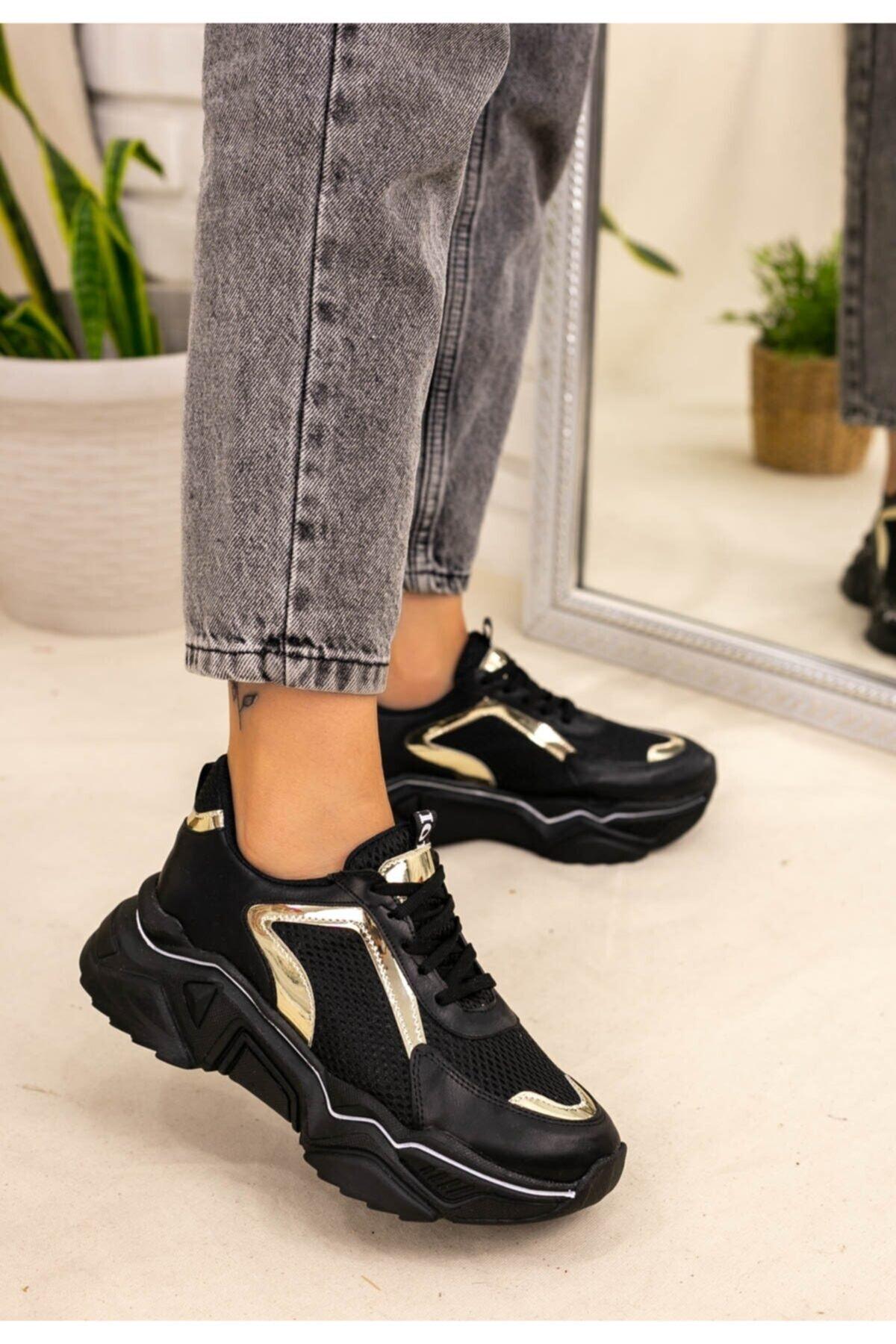Trendypazar Kadın Siyah Cilt Yaldız Ve Beyaz Çizgili Spor Ayakkabı