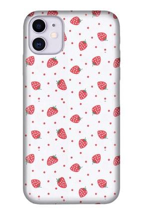 """Cekuonline Iphone 12 Mini 5.4"""" Tıpalı Kamera Korumalı Silikon Kılıf - Çilek 0"""