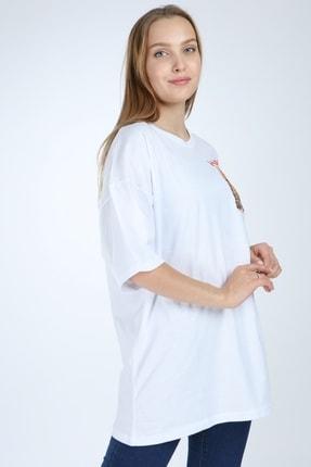 Millionaire Beyaz Harlem Baskılı Oversize T-shirt 4