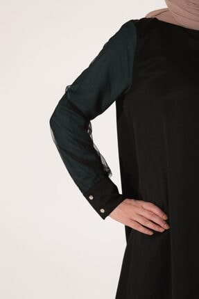 Ekrumoda Kadın Siyah Kolu Tüllü Tunik 2