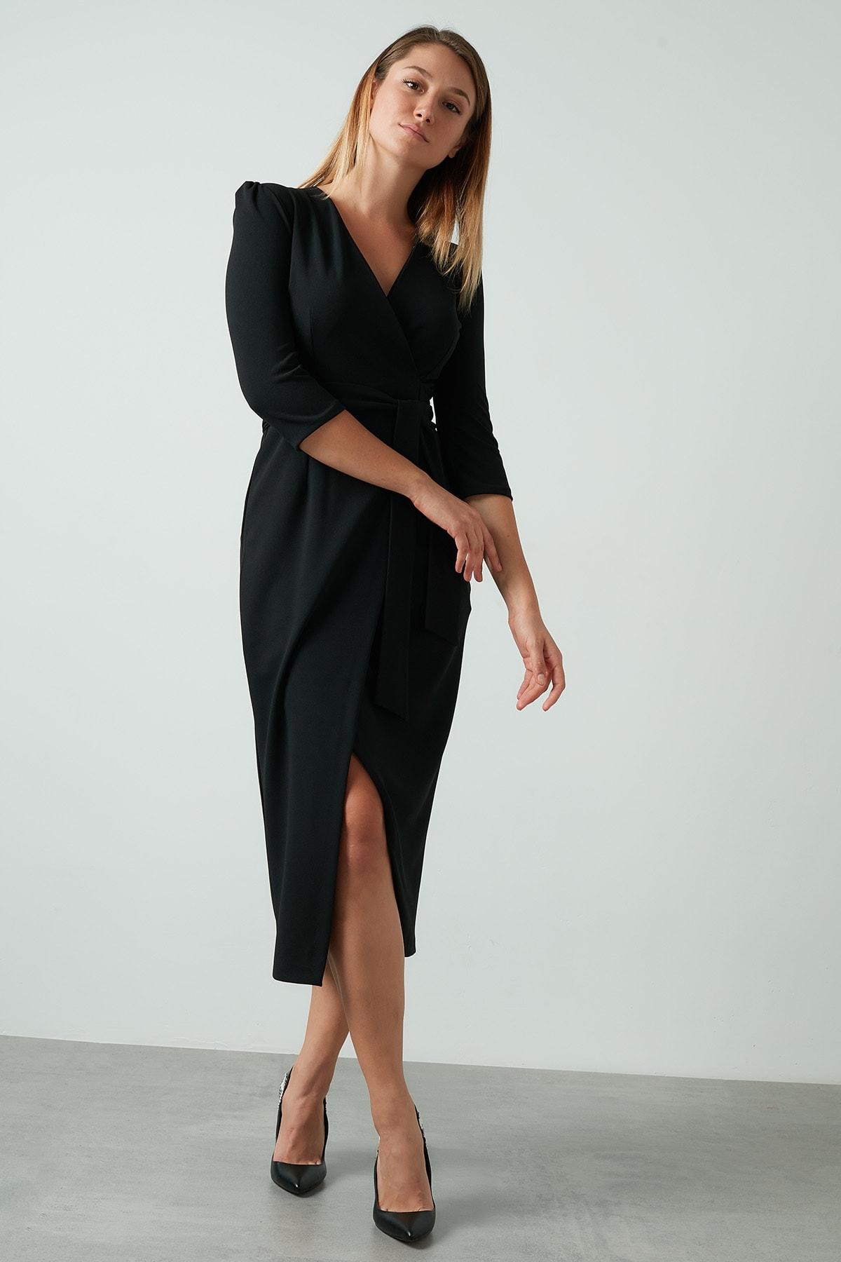 Kadın Siyah Kuşaklı Kruvaze Elbise
