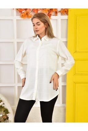 Moda Enfal Kadın Beyaz Uzun Kol Gömlek 1