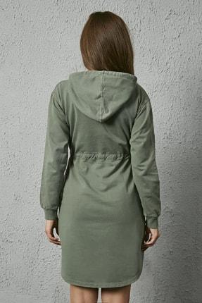 Sateen Kadın Haki Kapüşonlu Sweat Elbise 4