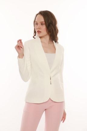 MANGOSTEEN Kadın Beyaz Çıtçıtlı Klasik Ceket 1