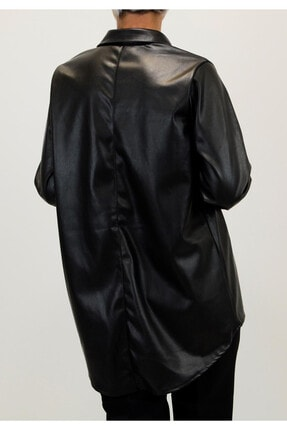 Shoppingdimoda Kadın Siyah Püskül Taşlı Detay Deri Gömlek 4