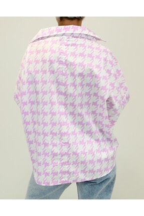 Shoppingdimoda Kadın Lila Düşük Kol Oversize Gömlek 4