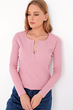 Trend Alaçatı Stili Kadın Pudra Pembe Çıtçıtlı Kaşkorse Bluz MDS-345-BLZ 1