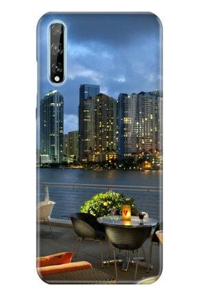 cupcase Huawei Y8p Kılıf Resim Esnek Silikon Kapak Miami2 Desen + Temperli Cam 0