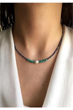 Serpil Jewellery Kadın Lacivert Kırçıllı Afgan Boncuklu Turkuaz Ve Gerçek Incili Doğaltaş Tasarım Kolye 0