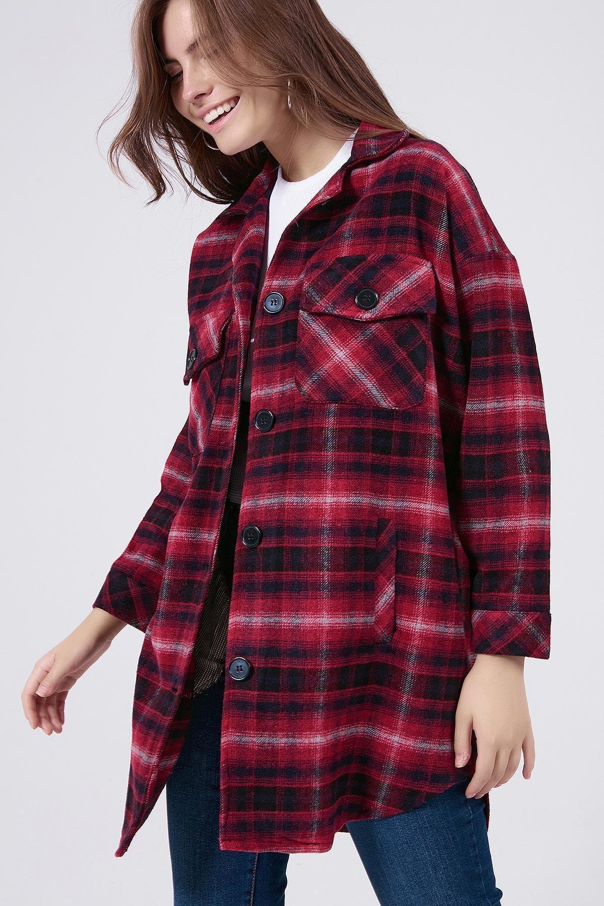 Y-London Kadın Kırmızı Ekoseli Uzun Oduncu Gömlek Ceket Y20W176-11228-1 0