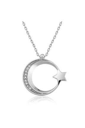 Modern Çağ Gümüş 925 Ayar Gümüş Ay Yıldız Kolye 0