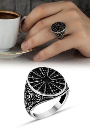 Takılingo 925 Ayar Gümüş Siyah Mikro Taşlı Kalem Işlemeli Erkek Yüzük 1