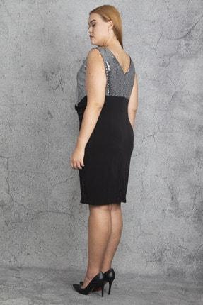 Şans Kadın Siyah Payet Ve Bel Bel Detaylı Elbise 65N19197 3